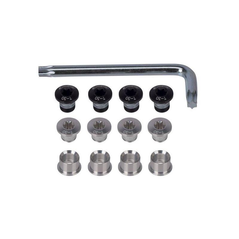 Kit de tornillos + Llave Plateado 12 piezas (triple)